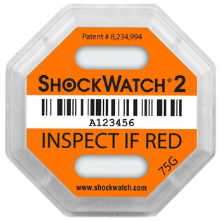 ShockWatch 2 Stoßindikatorlabel mit Warnhinweisaufkleber (orange)